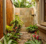 Escape In Your Private  Outdoor Shower Enclosed w Bamboo Fence & Lush Garden