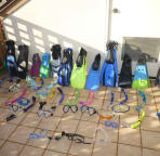 Over 11 complete sets of snorkel gear for all ages