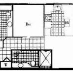 Floor plan for J-105 with 1039 sq ft of internal space plus lanai and courtyard.
