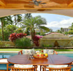 Pacific Paradise Maui, Meals Shared Outdoors Are Always More Fun! Seating for 8.