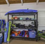 Full beach equipment and wave rider kayak.