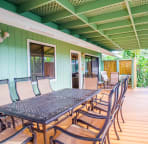 Covered upper deck great for meals and entertaining everyone