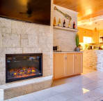 Electric fireplace in lounge
