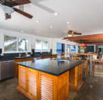 Kitchen with 2 sinks, 2 fridge/freezers, 2 diswashers, 6 burner gas range/oven