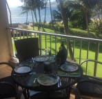 Shady lanai is perfect for dining al fresco