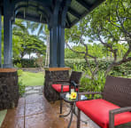 The large plumeria tree provides great privacy.