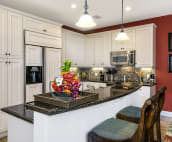 Morning Glory has a fully equipped gourmet kitchen with granite countertops and bar stools.