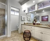 Master bath with double sinks, private water closet, granite counter, huge walk-in shower and large mirror.
