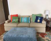 living area couch and ottoman