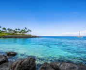 Mauna Lani private beach club with the best snorkeling available.