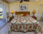 Comfortable king size bed, tropical bedspread, AC, and fan