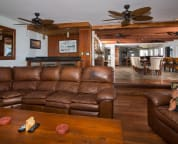 Living Room with Sub Zero commercial ice maker, beverage fridge and wine captain