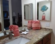 Master bath sink and dressing area. Granite counter and wood cabinets