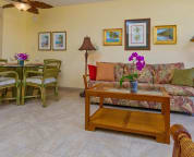 Comfortable living and dining area--Tropical decor and fan-queeen size sofa bed