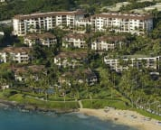 Aerial view of Wailea Beach Villas with direct access to Wailea Beach.
