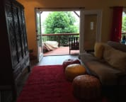 view of the deck/living room from the entryway
