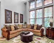 Elegantly appointed living room with Tahitian sectional sofa for your relaxation.