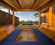 Oceanfront Hot Tub and cabana.