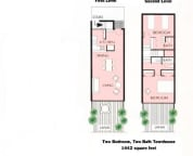 Our floor plan, main living and kitchen on 1st floor and bedrooms suites on the 2nd floor. Huge lanais on both floors