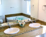 New master bath with whirlpool tub and walk in shower