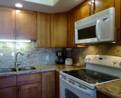 Look at the beautiful wood cupboards and the granite back splash. Good meals now