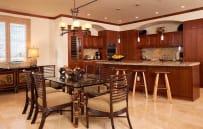 Dining seat 6, plus more seating at kitchen island bar - sample villa