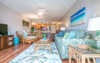 Open living area, brand new renovations. New Pergo floors, paint, furniture, stainless appliances.