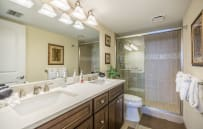 Master bath with walk-in shower.  Quartz counter top with double sinks