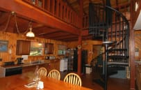 Kitchen & Dining area - Spiral Staircase leading to Loft