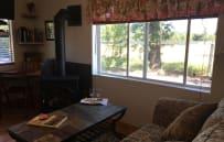 Living room with gas log stove