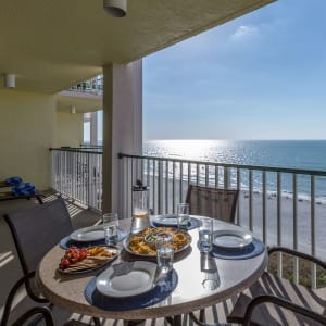 Beachfront dining and relaxing! Keep a look out for our local dolphins playing right before you.