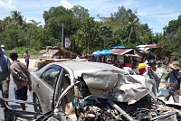 Two cars collided with severe...