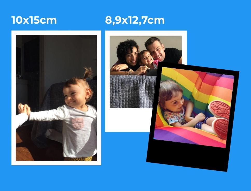 Normal é 10x15cm e Old School é 8,9x12,7cm