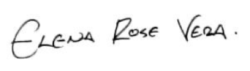 Signature of Elena Rose Vera