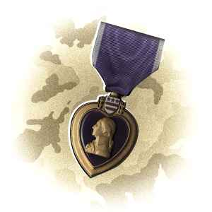 A graphic illustration of a Purple Heart medal