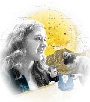A graphic illustration collage of a young woman, a sun, a map of the stars in the sky, and two students building a project together