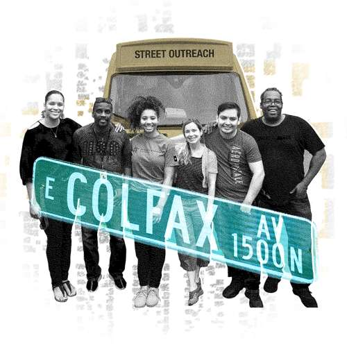 """A graphic illustration college showing: group of CU researchers and community organizers stand smiling in front of a street outreach van, a green and white street sign that says """"E. Colfax"""" and a city map as a background"""