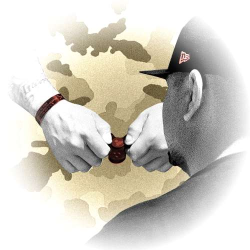 A graphic illustration collage of a pair of hands holding a fidget spinner with a man's back to you