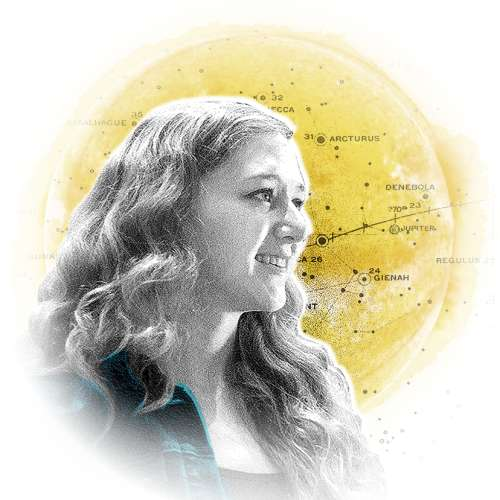 A graphic illustration collage of: a young woman looking to her left, a round yellow celestial body, and a map of the stars