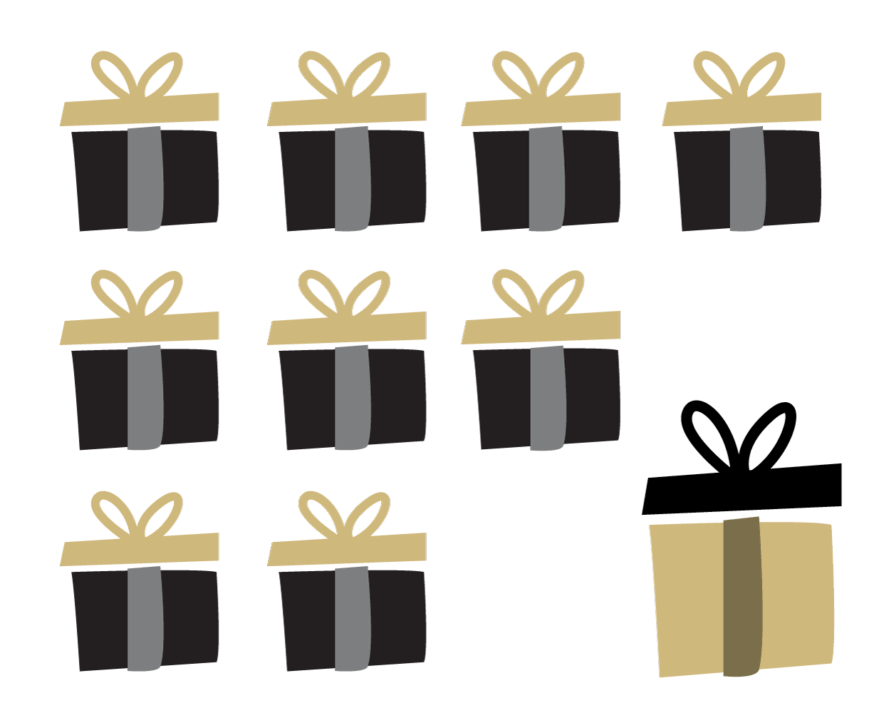 Financials chart graphic - showing 9 out of 10 present boxes small, 1 large box