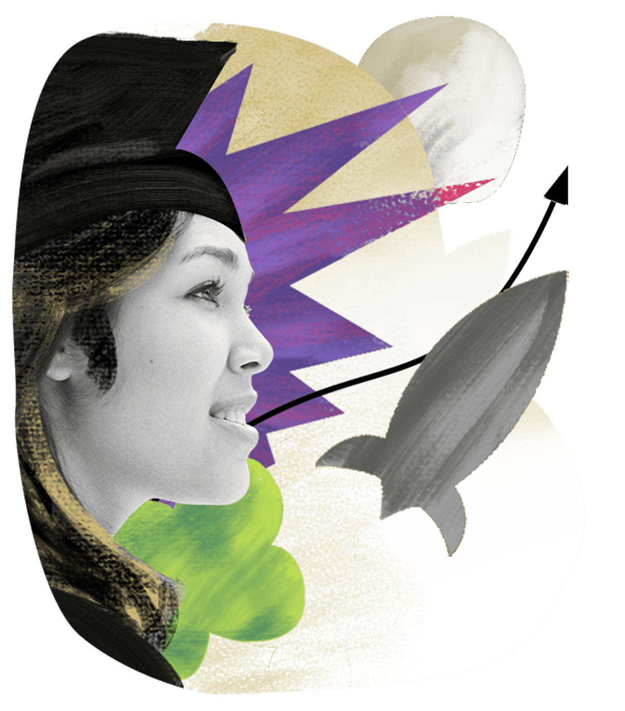 Financials graphic - woman looking upwards with rocket graphic and arrow line pointing up