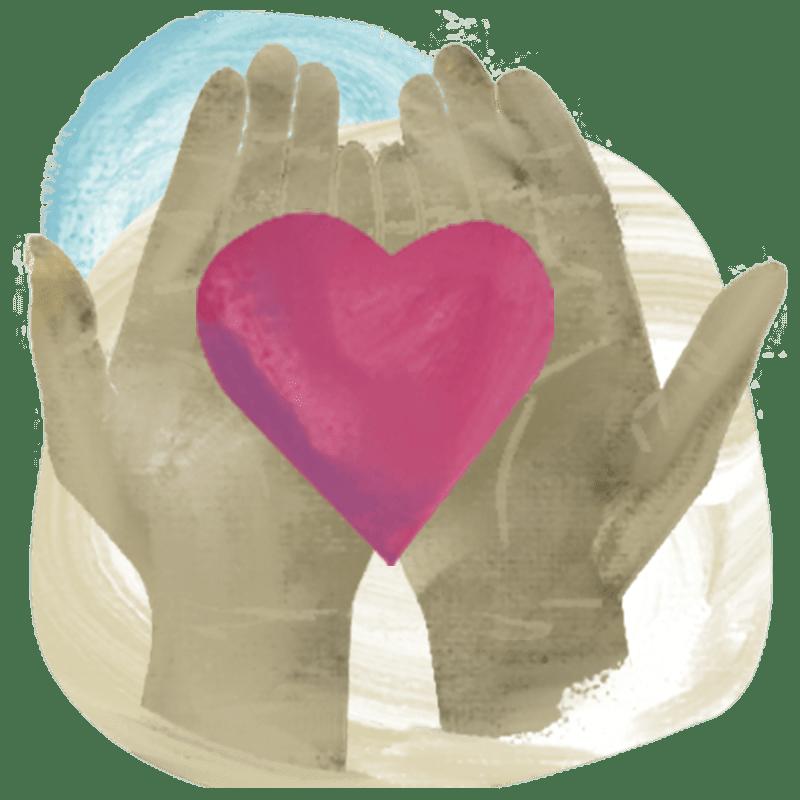 Financials graphic - open hands holding a heart