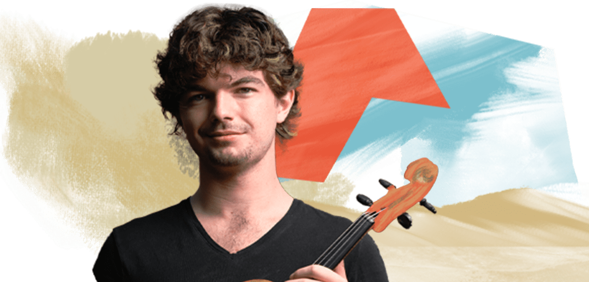 A young man with brown wavy hair is wearing a black T-shirt and holding a violin. The background is an artistic design of colorful shapes.