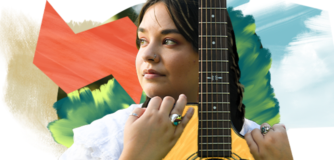 A young woman with brown hair looks off to the side, while holding a guitar. The background is an artistic design with colorful shapes.