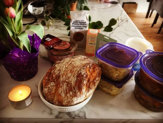 Fresh bread, flowers and meals