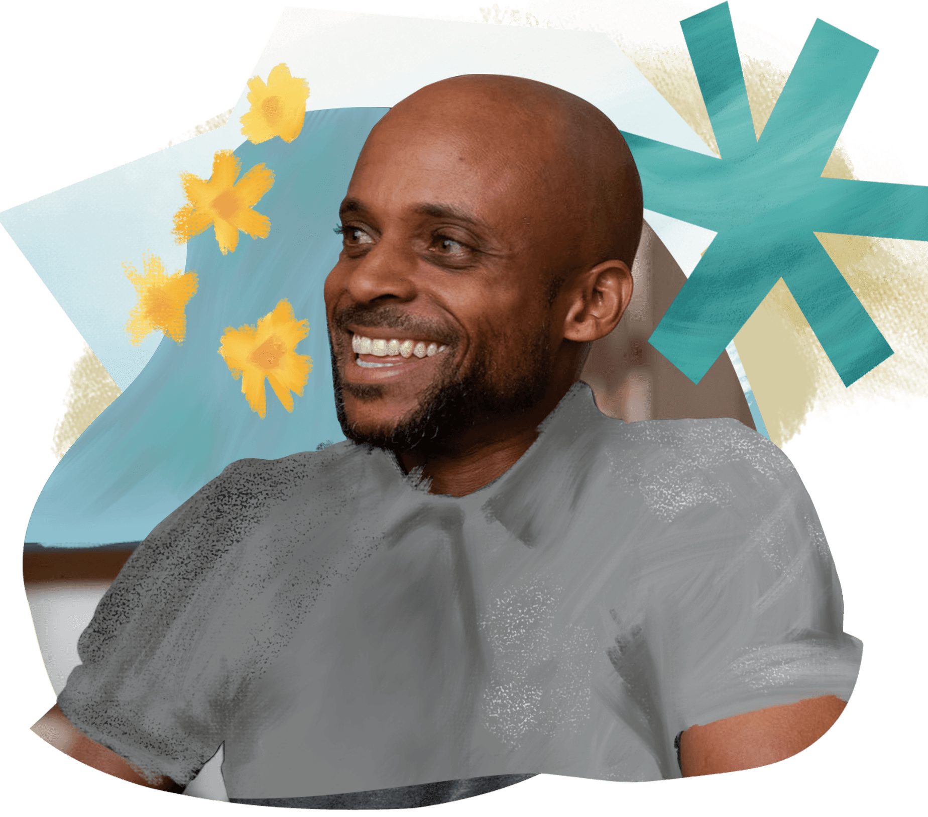 A man looks off to the side and smiles; he is wearing a gray shirt. The background is an artistic design with colorful shapes.