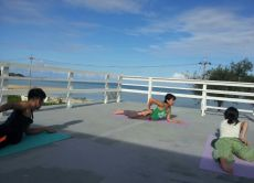 Morning seaside yoga in Okinawa