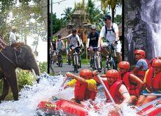 Full Day Tour: Village Cycling + Elephant Trek + Rafting