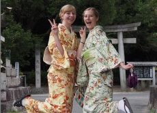 Walk around the old town Arimatsu in real silk kimono