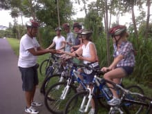 Cycle downhill and eat in a Balinese Coumpound